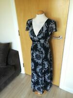 Ladies PER UNA Dress Size 14 Long Tall Black White Fit and Flare Party Wedding