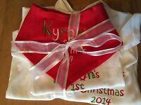 PERSONALISED 1ST CHRISTMAS XMAS SLEEPSUIT/BABYGROW,VEST/BODYSUIT, BIB,BOY/GIRL