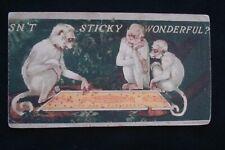 Sticky Fly Paper Advertising Blotter 3 Monkeys Pulling Flies Off Of Sticky Paper