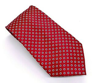 Jos. A. Bank Executive Tie Red White Blue Polka Dot Silk 59 x 3.5 China New