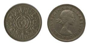 1965 BRITISH 2 SHILLING/FLORIN COIN - Tudor Rose/Young Queen Elizabeth II RARE👑