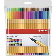 Stabilo Point 88 Fineliner Bolígrafos-Surtido de Colores Cartera de Arte de 40