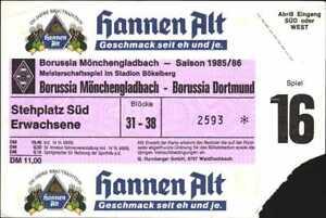 3047 Ticket BL 85/86 Borussia Mönchengladbach - Borussia Dortmund, 05.04.1986