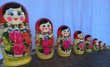 """New Traditional Russian Nesting Dolls Babushka- Semenov Doll 9 pieces 10"""""""