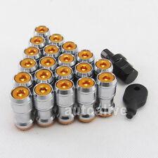 20pcs M12X1.5 STEEL WHEEL RIM LUG NUTS CLOSE END LOCKING KEY GOLD Honda Toyota