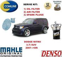 Para Dodge Nitro 3.7 4x4 2007> de Aceite Filtro Aire + Bujías Kit Mantenimiento