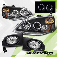 For 2001-2003 Honda Civic Coupe/Sedan Halo Projector Black Headlights+Fog Lamps