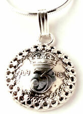 Silver Threepence Coin Pendant Silver Coin Jewelry England, Unique Jewelry