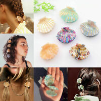 Sweet Girls Shell Hair Claw Clamp Resin Floral Print Clip Grips Ponytail Hairpin