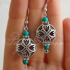 earrings 925 Sterling Silver Hook Tibetan Silver and Natural Turquoise filigree
