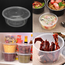10Pcs Plastic Disposable Lunch Soup Bowl Food Round Container Box With Lids New