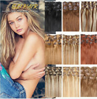 100% Real Remy Human Hair Extensions Full Head Clip in Best Weft Highlight