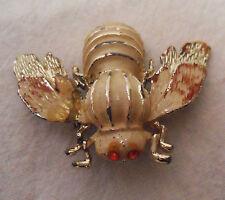 Vintage Bee Lapel? Pin BROOCH, Cloisonne Enamel, To Restore, Red Rhinestone Eyes