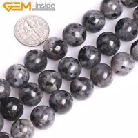 Natural Gemstone Black Larvikite Labradorite Round Beads For Jewellery Making UK
