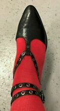 Women's Luxury Rebel Black Double Ankle Strap Flats Sz 7.5 / 38.5 GUC
