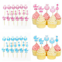 18 Pcs Baby Shower Cupcake Toppers Boy Girl Favors Party Decorations Supplies