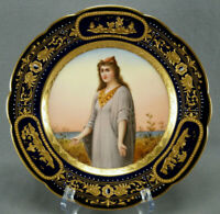 Royal Vienna Style Hand Painted Cobalt Raised Beaded Gold Esther Portrait Plate