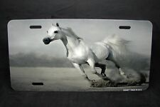WHITE HORSE  METAL NOVELTY LICENSE PLATE TAG FOR CARS WHITE MUSTANG HORSE