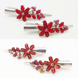 ICON 2.75 FASHION RED - ROSE BROWN CRYSTAL FLORAL SILVER HAIR ACCESSORY CLAW NEW