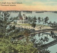NY Thousand Islands Little Lehigh Island Bridge Early Curt Teich Postcard c1911