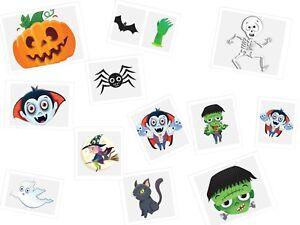 48 x  NEW Spooky Halloween Vampire Pumpkin Bats Kids Pretend Transfers Tattoos