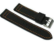 CUSTOM Hadley-Roma Genuine Cordura Black With Orange Watch Strap. 20, 22mm