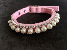 Elegante Collare per Cani Gatto Cucciolo Blink Perla & Diamante Velluto 19-25cm XXS
