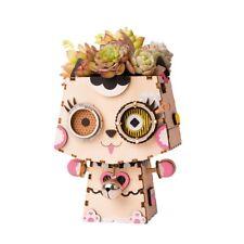 Rolife DIY 3D Wooden Puzzle Cat Model Flower Pot with Pot Children Toy Kids Girl