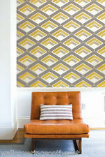 Mustard, Grey, Metallic Cream With Glitter, Retro 1950's 1960's GEO Wallpaper