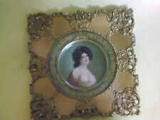 Antique Vienna Art Plate Framed H. D. Beach Co Ornate Gold Frame Original Plate