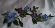 NEW 100% EMBROIDERY IRON ON PURPLE STUNNING FLOWER VINE PATCH MOTIF LARGE 24cm