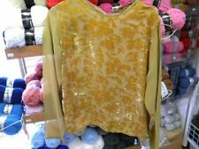 haut liquette  vintage tulle velours moutarde marron femme taille 42/44 c27