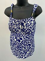 Lands End Tankini Buit In Bra Bathing Suit Top White Blue Womens Size 10