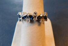 14k White Gold Blue Sapphire Bezel Diamond Stackable Stack Band Flower Leaf Ring