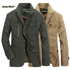 Jeep Rich Men Cotton Casual Business Blazers Suit fall Jacket Coat Multi-pocket