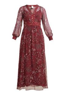 Max Mara Studio Size 16 Shock Chiffon Burgundy Dress
