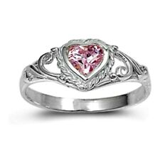 .925 Sterling Silver Ring size 4 CZ Heart cut Pink Midi Kids Ladies New pb59