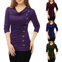 UK Womens Cowl Neck Long Sleeve Pleated Tops Casual Blouse Buttons Baggy Shirts