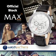 MAX CLASSIC CHRONO WATCH 10ATM WHITE DIAL BLACK LEATHER STRAP 44mm DIAM 5-MAX614