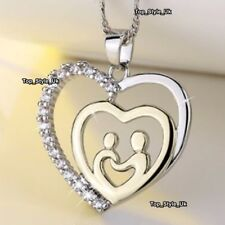 18k White Gold Crystal Heart Necklace Mother and Daughter Gifts for Her Xmas S1
