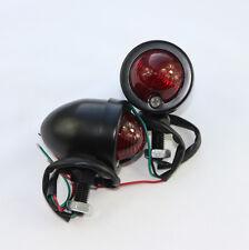 x2 Black Bullet Turn Sigal Brake Light Indicator Full Metal Housing Three Wires