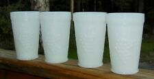 FOUR VINTAGE Tumblers ANCHOR HOCKING Milk Glass GRAPES Promi JIF PEANUT BUTTER