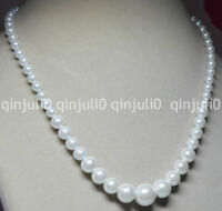 """6-14mm White South Sea Shell Pearl Round Beads Necklaces 18"""" Earring  JN583"""