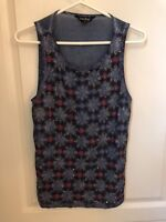 Lucky Brand Women's Small Blue Sleeveless Blouse Beaded Top Embellishments