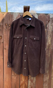 Vintage The North Face Brown Fleece Button Down Shirt Sweater Jacket Size L