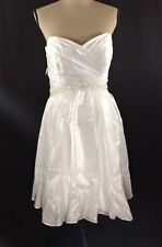 Alfred Angelo Short Strapless Fit and Flare Wedding Dress Size 16 Pleated Bodice