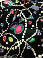 """Jewel box Pearl, Jewellery and Make up Print Black Satin fabric 58"""" M145-22 Mtex"""