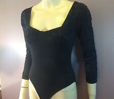 "Women Bodysuit ""Modet Of California"" USA Size S. Black W/handicraft Decoration"