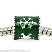 1PC European Charm Spacer Beads Enamel Green Snowflake For Bracelet Christmas GW