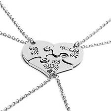 "3 in 1 Puzzle Heart Shape"" Little Middle Big Sister"" Pendant Necklace Gift JYL"